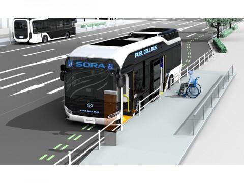 トヨタ燃料電池バス、ITS機能の活用により安全性、輸送力、速達・定時性を向上